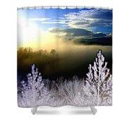Foggy Winter Sunset Shower Curtain