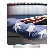 Folded American Flag Shower Curtain