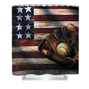 Folk Art American Flag And Baseball Mitt Shower Curtain by Garry Gay