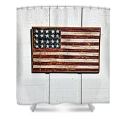 Folk Art American Flag On Wooden Wall Shower Curtain by Garry Gay