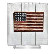 Folk Art American Flag On Wooden Wall Shower Curtain