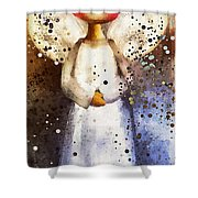 Folk Art Angel Shower Curtain