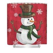 Folk Snowman Shower Curtain
