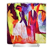 Folks At The Blue Sea By August Macke Shower Curtain