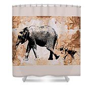 Following Mum - Mother And Baby Elephant Animal Decorative Poster  4 - By Diana Van Shower Curtain