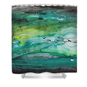 Following The Moon Shower Curtain