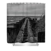 Folly Beach Anti Erosion Pier Shower Curtain
