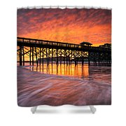 Folly Beach Pier And Waterfront Development Charleston South Carolina Shower Curtain