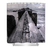 Folly Beach Pilings Charleston South Carolina Shower Curtain