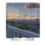 Folly Pier Sunrise Shower Curtain