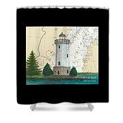 Fon Du Lac Lighthouse Wi Nautical Chart Map Map Shower Curtain