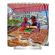 Food Booth In Valparaiso Square-chile Shower Curtain