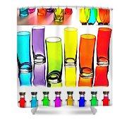 Food Coloring Ensemble-rainbow Theme Shower Curtain