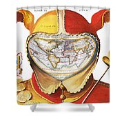 Fools Cap World Map, C1590 Shower Curtain