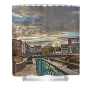Foot Bridge At Gas Street Basin  Birmingham Shower Curtain