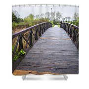 Foot Bridge In Park Shower Curtain