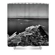 Foot Of 9th Line South Bw  Shower Curtain