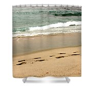 Foot Prints In The Sand.jpg Shower Curtain