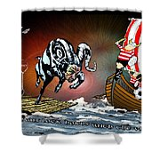 Football Derby Rams Against Doncaster Vikings Shower Curtain