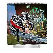 Football Derby Rams Against Plymouth Pilgrims Shower Curtain