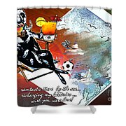 Football Derby Rams On Holidays By The Sea Shower Curtain