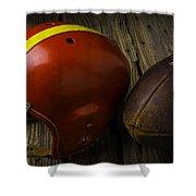 Football Helmet And Football Shower Curtain