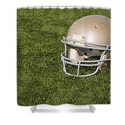 Football Helmet On Artificial Turf Shower Curtain