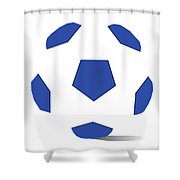 Football Image In Dazzling Blue And White Space Shower Curtain