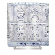 Football Patent History Blueprint Shower Curtain