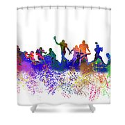 Football Players Skyline Shower Curtain