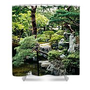 Footbridge Across A Pond, Kyoto Shower Curtain