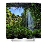 Footbridge And Crystal Falls  In The Rainforest Of Dorrigo In Australia Shower Curtain