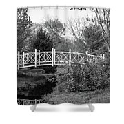 Footbridge In Black And White Shower Curtain