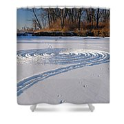 Footprint Snow Ring On A Frozen River In Winter At The Toronto I Shower Curtain