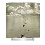 Footprints In Sand Shower Curtain