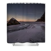 Footprints In Snow Around The Pyramid Rock Shower Curtain