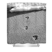 Footprints In The Sand Black And White Shower Curtain
