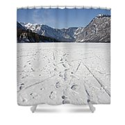 Footprints On A Frozen Lake Shower Curtain