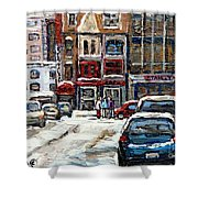 For Sale Original Paintings Montreal Petits Formats A Vendre Downtown Montreal Rue Stanley Cspandau  Shower Curtain
