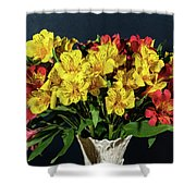 Foral Bouquet Of Red And Yellow Astomelia Shower Curtain