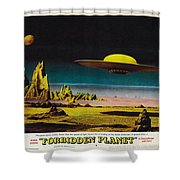 Forbidden Planet In Cinemascope Retro Classic Movie Poster Detailing Flying Saucer Shower Curtain