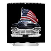 Ford F100 With U.s.flag On Black Shower Curtain