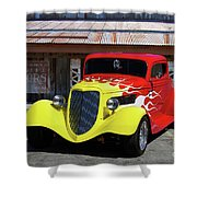 Ford Flaming Hot Rod Shower Curtain