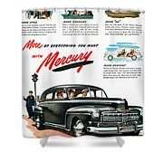Ford Mercury Ad, 1946 Shower Curtain