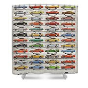 Ford Mustang Timeline History 50 Years Shower Curtain