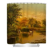 Fording The Stream Shower Curtain