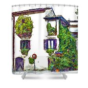 Foreshortening Of House Covered With Climbing Plants Shower Curtain
