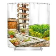 Foreshortening With Bell Tower And Wood Shower Curtain