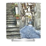 Foreshortening With Stairs Shower Curtain