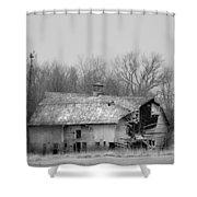 Forest Avenue Barn Bw Shower Curtain